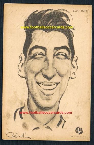 1920s French caricature of Rene Lacoste tennis postcard